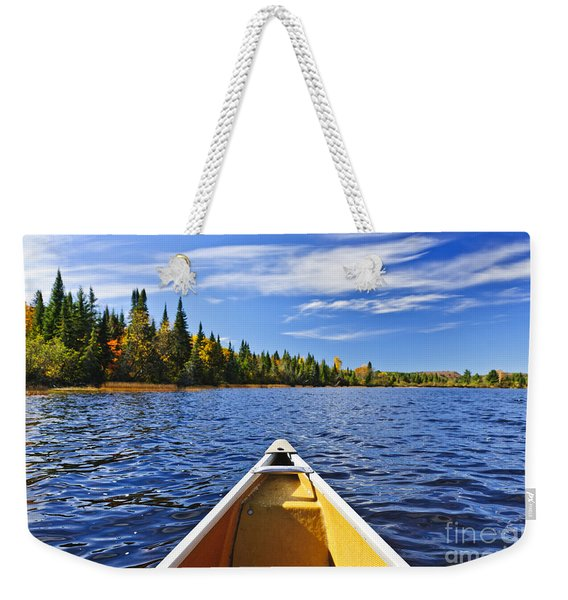 Canoe Bow On Lake Weekender Tote Bag
