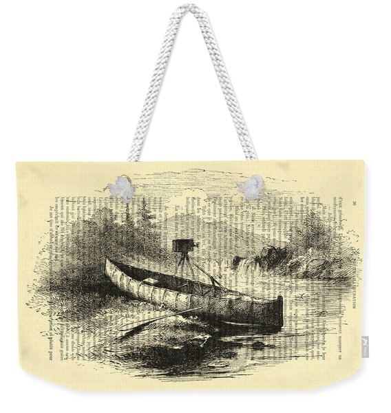 Canoe With Field Camera In Black And White Antique Illustration Weekender Tote Bag