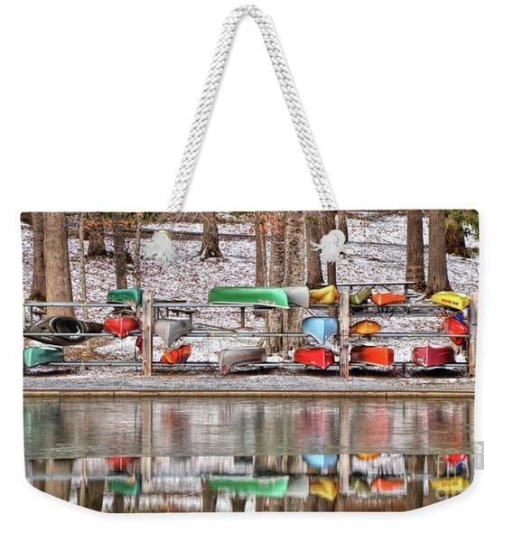 Canoe Reflections Weekender Tote Bag