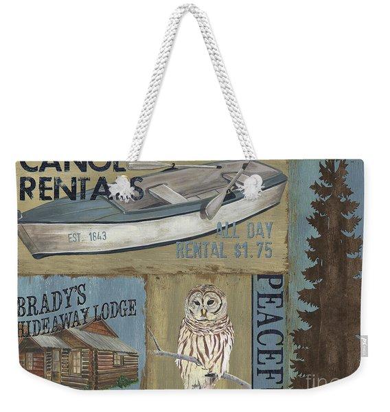 Canoe Rentals Lodge Weekender Tote Bag