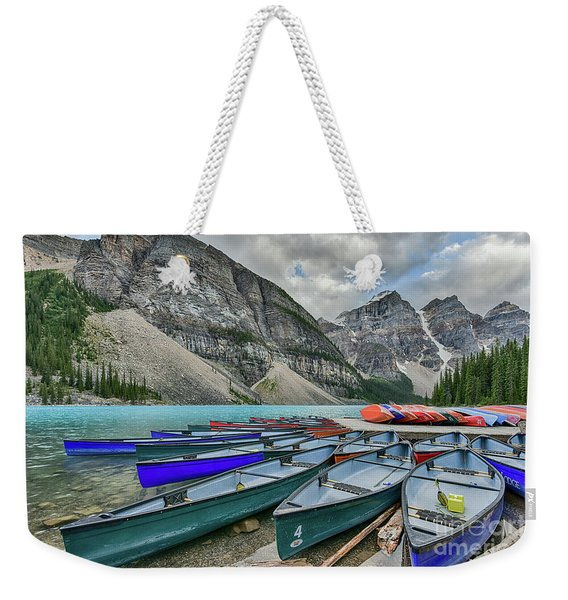 Canoes On Moraine Lake  Weekender Tote Bag