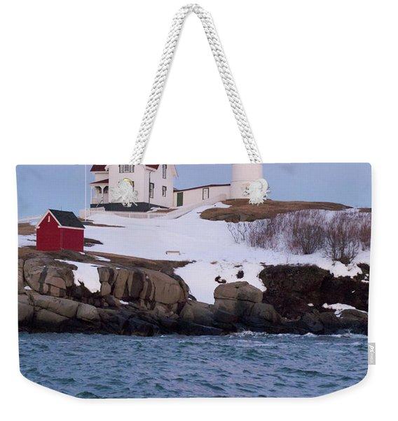 Cape Neddick Light At Dusk, York, Maine 21073 Weekender Tote Bag