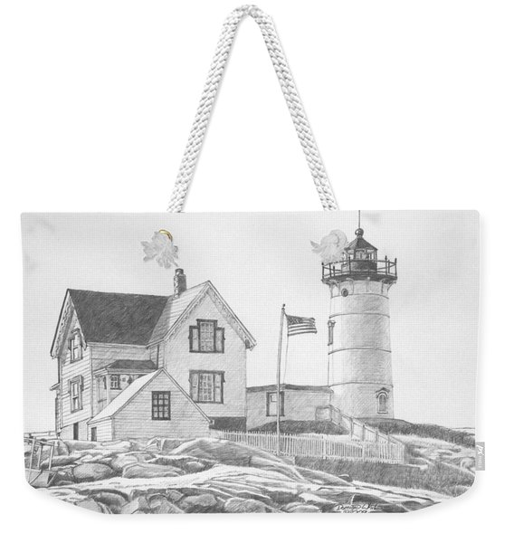 Weekender Tote Bag featuring the drawing Cape Neddick Light House Drawing by Dominic White