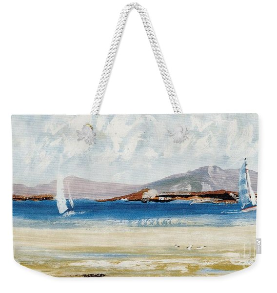 Weekender Tote Bag featuring the mixed media Cape Sailing by Writermore Arts