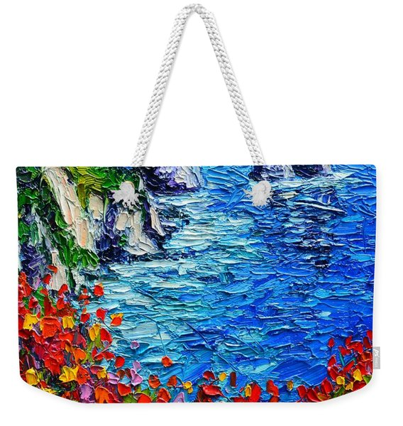 Capri Faraglioni 2 Italy Colors Modern Impressionist Palette Knife Oil Painting Ana Maria Edulescu  Weekender Tote Bag