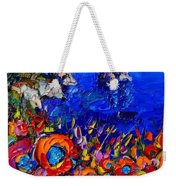 Capri Faraglioni Italy Colors Modern Impressionist Palette Knife Oil Painting By Ana Maria Edulescu  Weekender Tote Bag