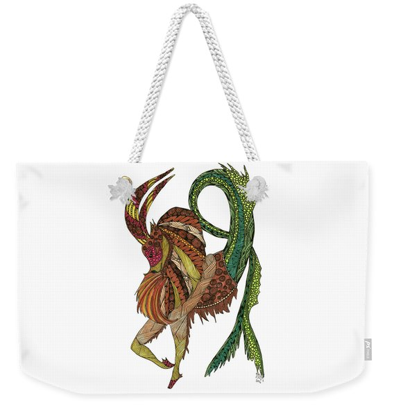Weekender Tote Bag featuring the drawing Capricorn by Barbara McConoughey