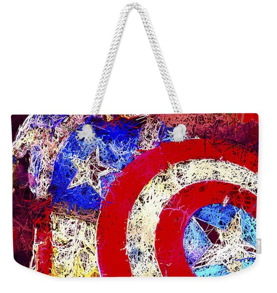 Weekender Tote Bag featuring the mixed media Captain America by Al Matra