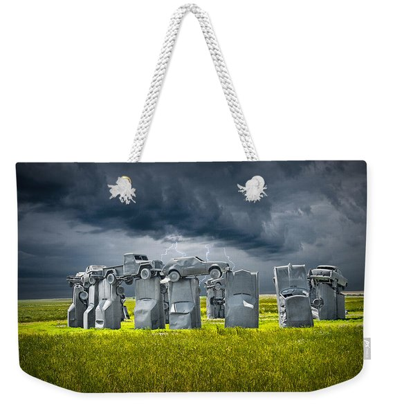 Car Henge In Alliance Nebraska After England's Stonehenge Weekender Tote Bag