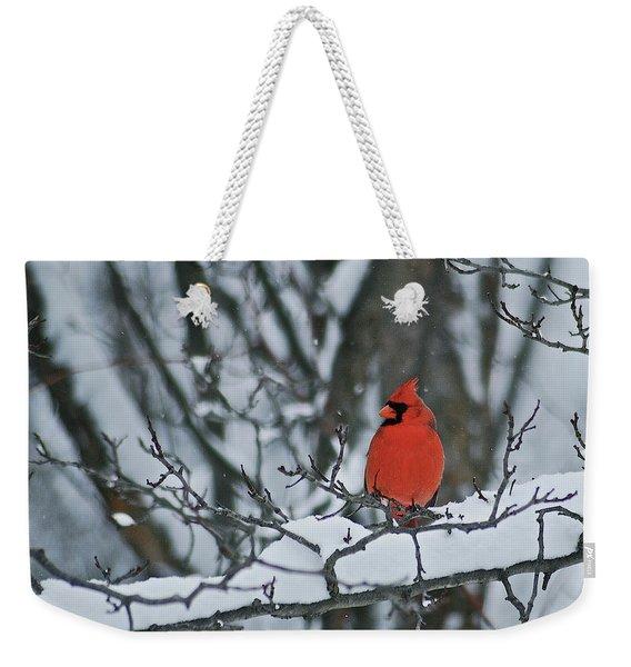 Cardinal And Snow Weekender Tote Bag