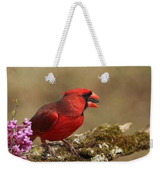 Cardinal In Spring Weekender Tote Bag