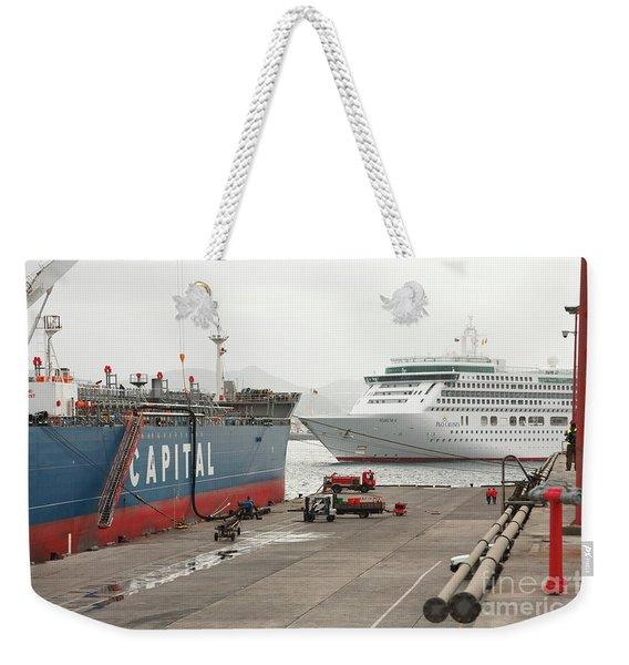 Cargo Ship And Cruise Ship Weekender Tote Bag