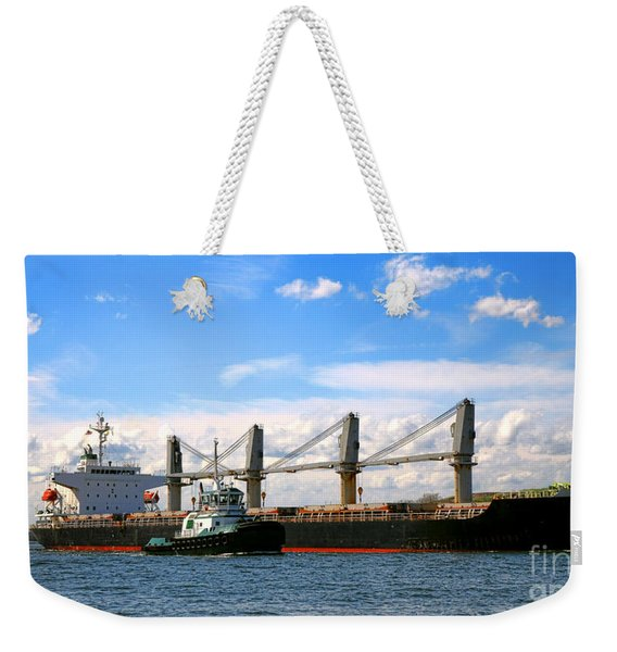 Cargo Ship And Tugboats  Weekender Tote Bag