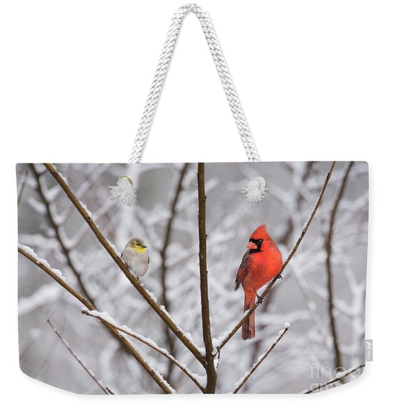Goldfinch And Cardinal Weekender Tote Bag