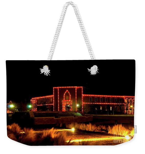 Weekender Tote Bag featuring the photograph Carol Of Lights At Science Building by Mae Wertz