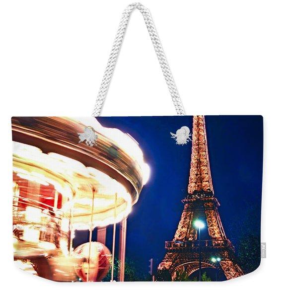 Carousel And Eiffel Tower Weekender Tote Bag