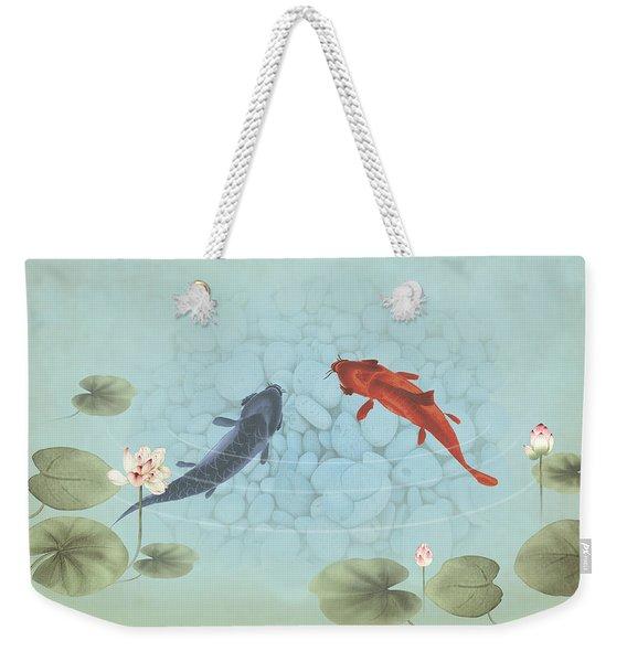 Carp In Lily Pond Weekender Tote Bag