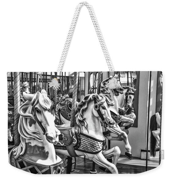 Carrousel Horses In Black And White Weekender Tote Bag