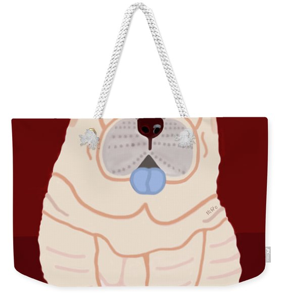 Weekender Tote Bag featuring the painting Cartoon Shar Pei by Marian Cates
