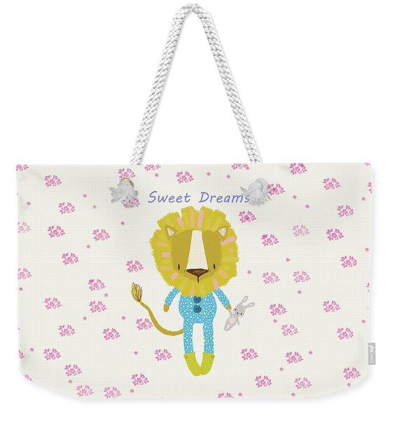 Cartoon Sweet Dreams Lion Weekender Tote Bag