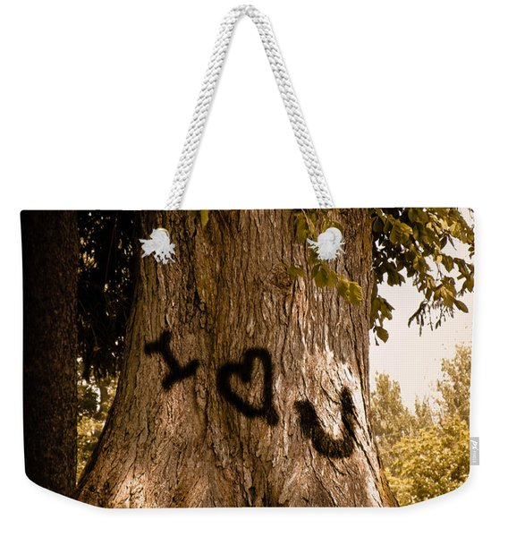Carve I Love You In That Big White Oak Weekender Tote Bag