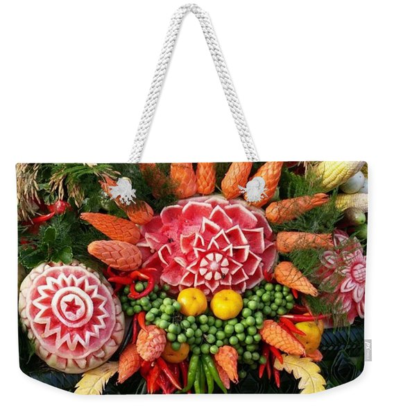 Weekender Tote Bag featuring the photograph Carved Watermelon, And I Think Those by Mr Photojimsf