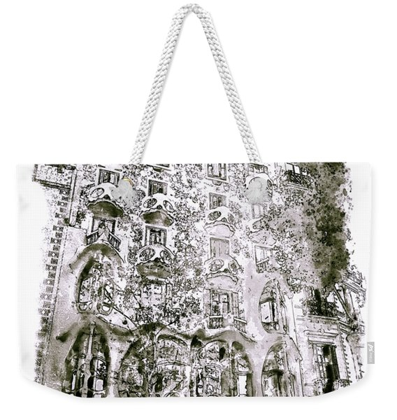 Casa Batllo Barcelona Black And White Weekender Tote Bag