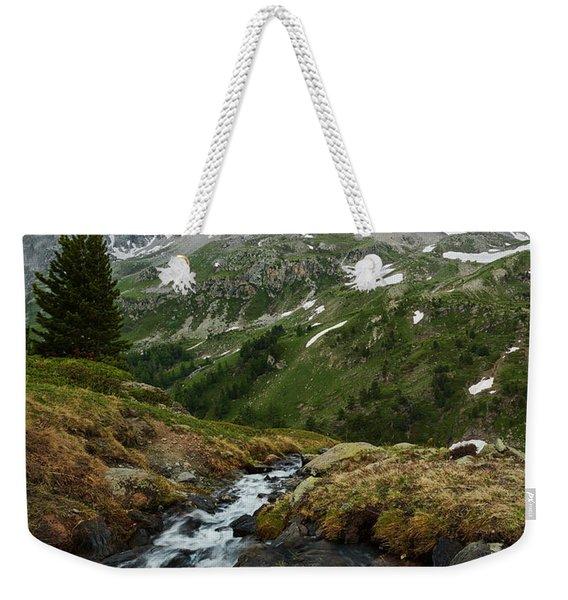 Cascade In The Alps II Weekender Tote Bag