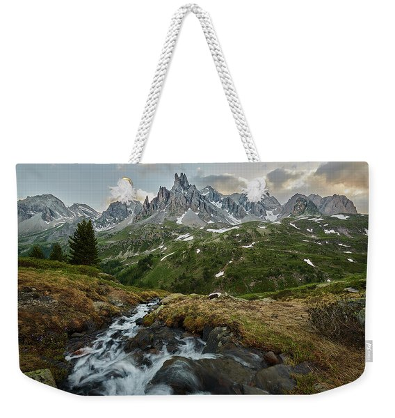 Cascade In The Alps Weekender Tote Bag