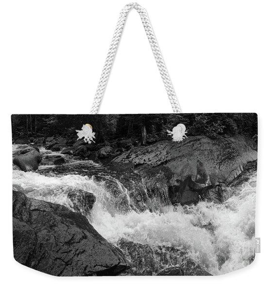 Cascade Stream Gorge, Rangeley, Maine  -70756-70771-pano-bw Weekender Tote Bag