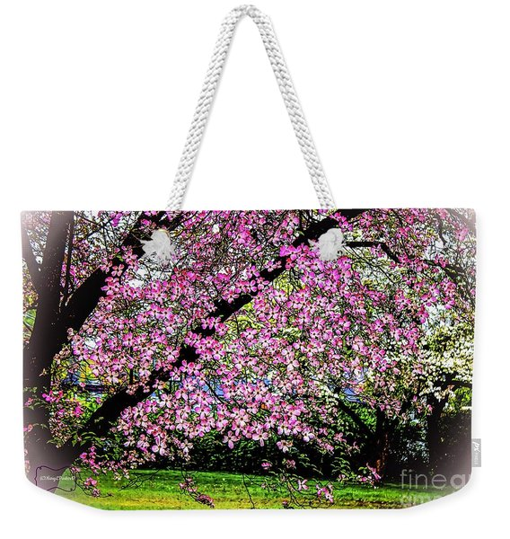 Cascading Dogwood Copyright Mary Lee Parker 17, Weekender Tote Bag