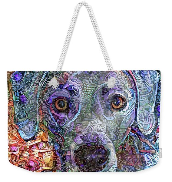Cash The Blue Lacy Dog Closeup Weekender Tote Bag