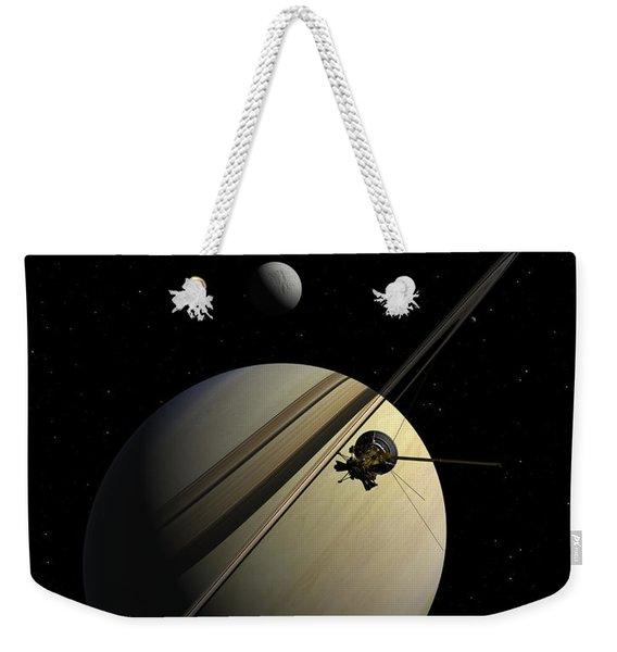 Cassini Passing Tethys Weekender Tote Bag