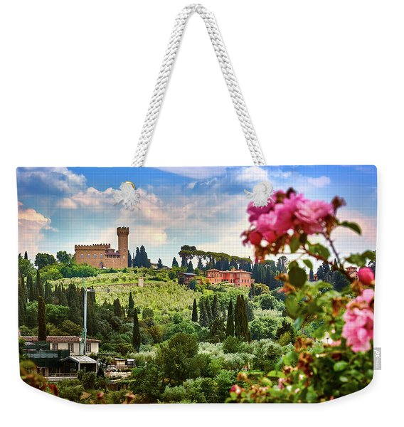Roses And Castle On Green Tuscan Landscape In Florence, Italy Weekender Tote Bag