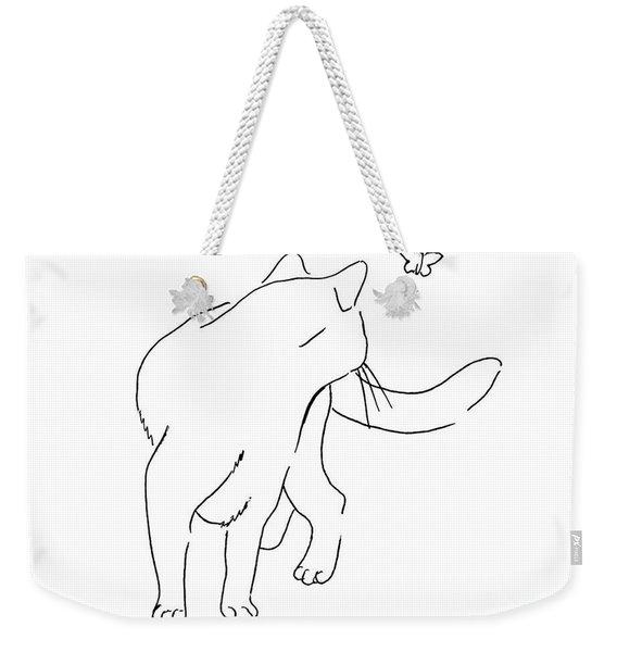 Cat-drawings-black-white-2 Weekender Tote Bag