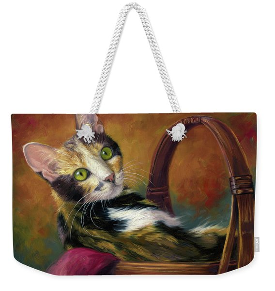 Cat In The Basket Weekender Tote Bag