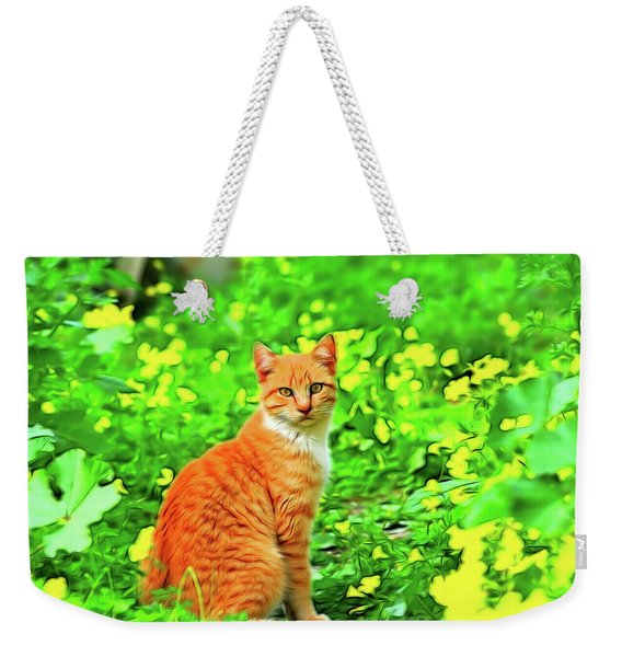 Cat Into The Spring Garden Weekender Tote Bag