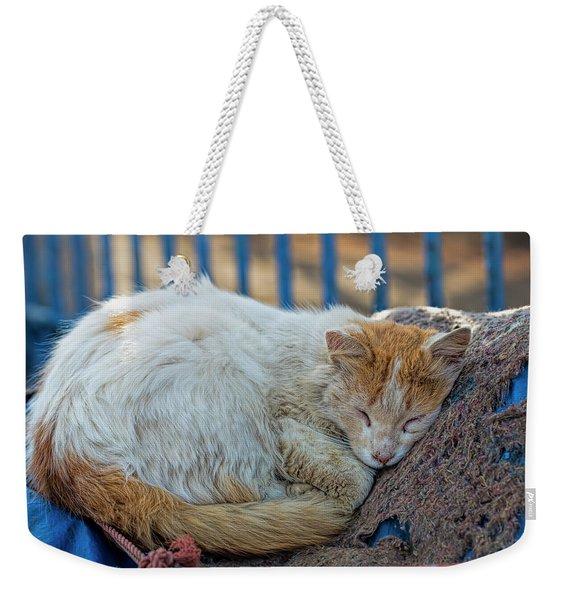 Cat Sleeping In Fishing Port Weekender Tote Bag