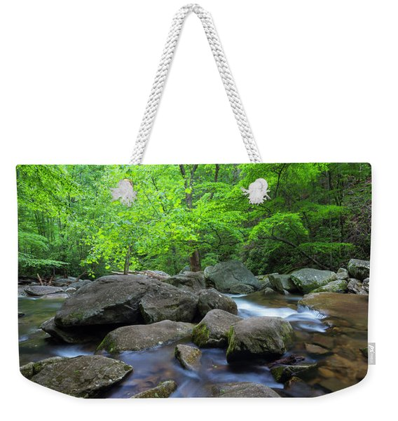 Weekender Tote Bag featuring the photograph Catawba Stream And Rocks Panorama by Ranjay Mitra