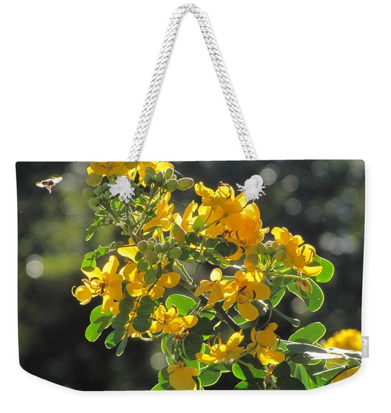 Catchlight Bee Over Yellow Blooms Weekender Tote Bag