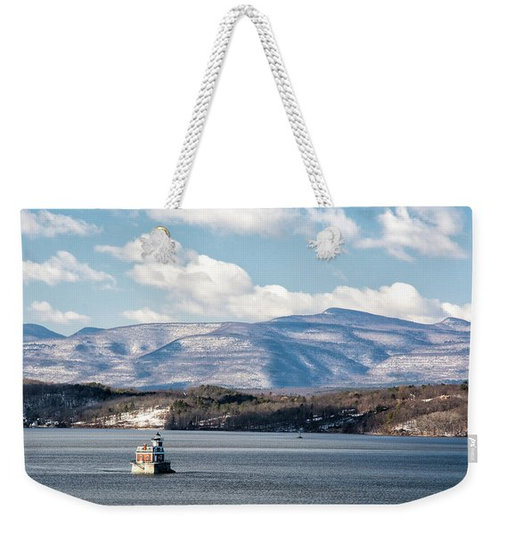 Weekender Tote Bag featuring the photograph Catskill Mountains With Lighthouse by Nancy De Flon