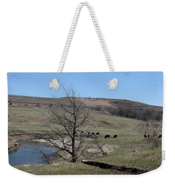 Cattle Along Deep Creek Weekender Tote Bag