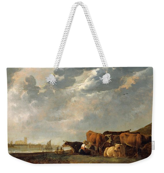 Cattle Near The Maas, With Dordrecht In The Distance Weekender Tote Bag