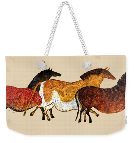 Cave Horses In Beige Weekender Tote Bag