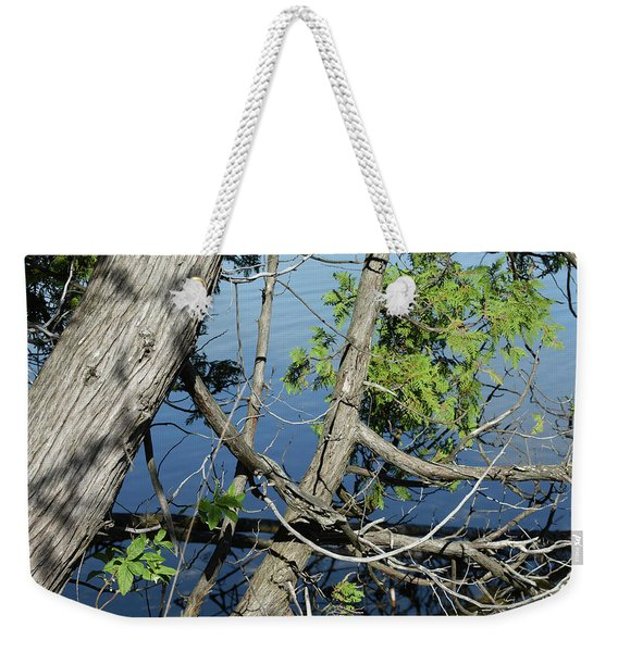 Cedar Leaning Out Over The Water Weekender Tote Bag