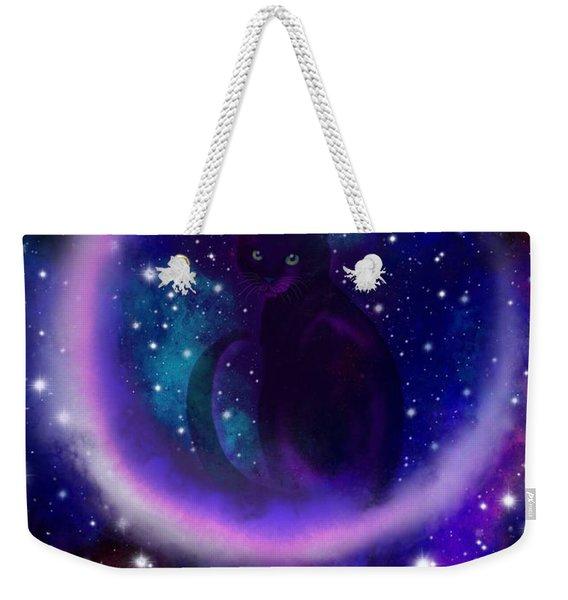 Celestial Crescent Moon Cat  Weekender Tote Bag