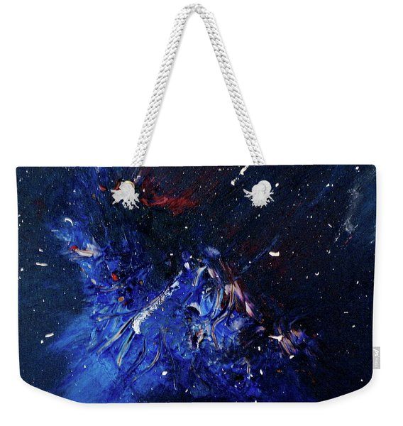 Weekender Tote Bag featuring the painting Celestial Harmony by Michael Lucarelli