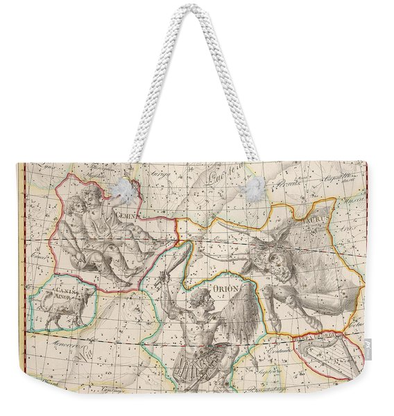 Celestial Map - Map Of The Constellations - Gemini, Taurus, Orion - Astronomical Chart Weekender Tote Bag