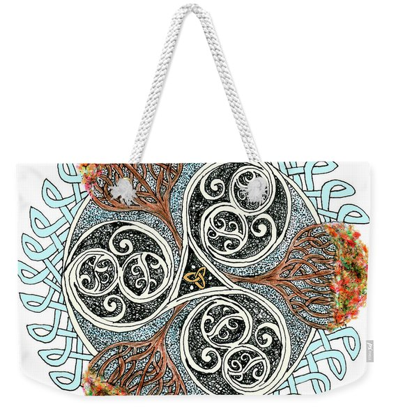 Celtic Knot With Autumn Trees Weekender Tote Bag