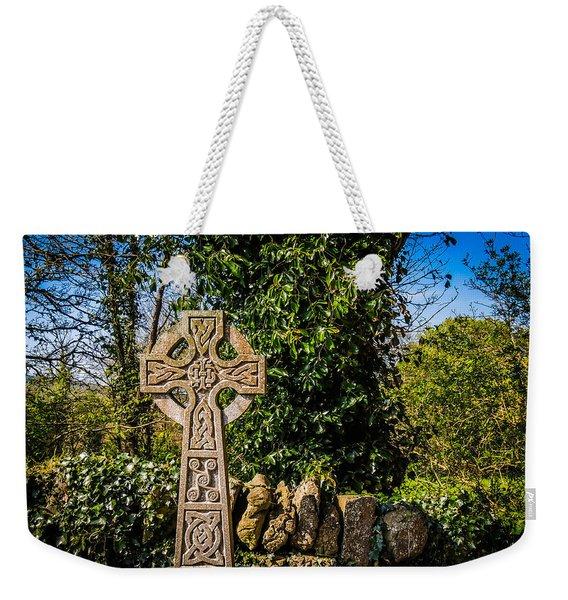 Celtic Knots Decorate A Celtic Cross Weekender Tote Bag